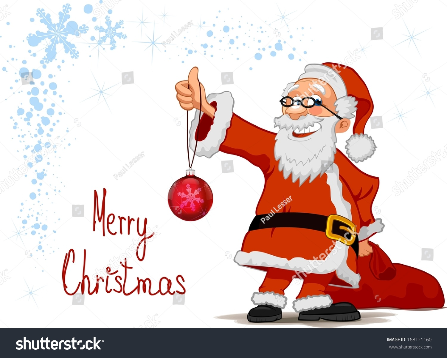 Santa Holding Hand Christmas Ball Sack Stock Vector (Royalty Free ...