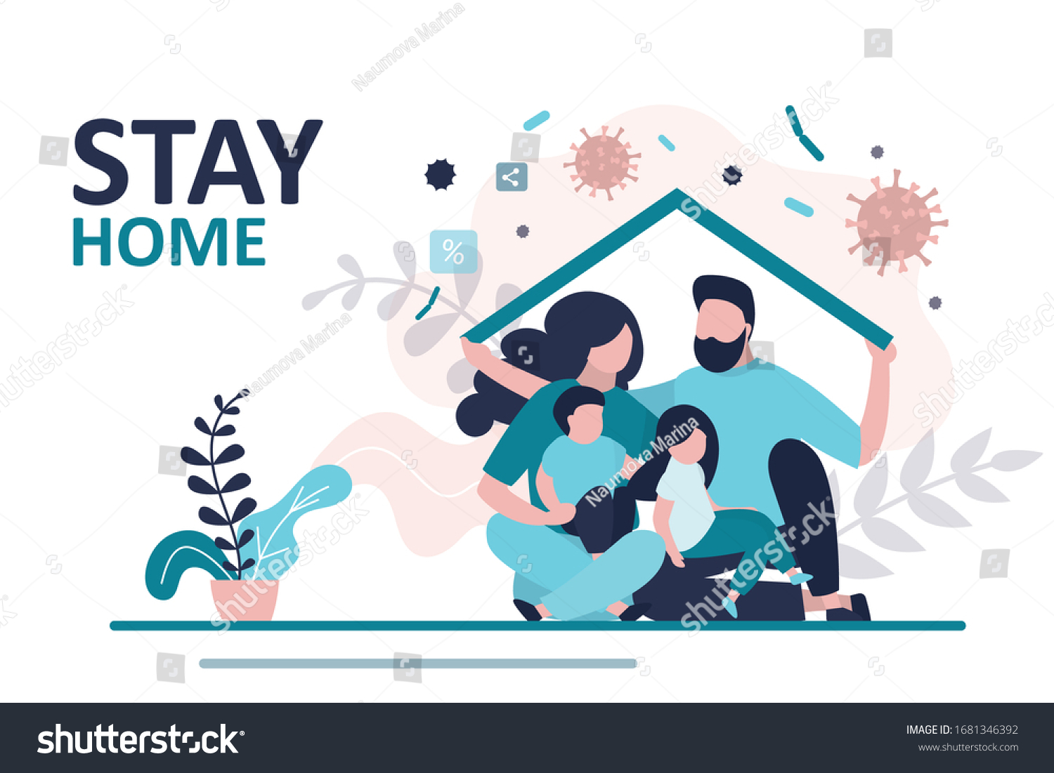 Stay home banner template. Family sitting home. Quarantine or self-isolation. Health care concept. Fears of getting coronavirus. Global viral epidemic or pandemic. Trendy flat vector illustration #1681346392