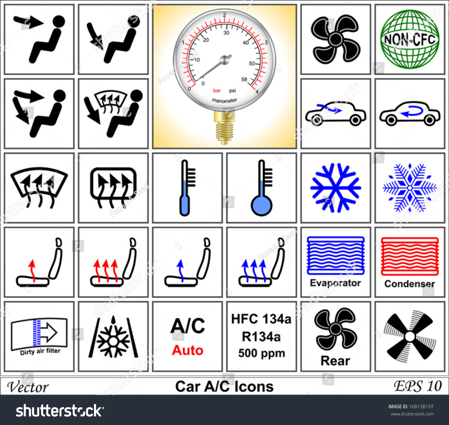 Car Ac Vector Icons Stock Vector Royalty Free 168138197 Shutterstock