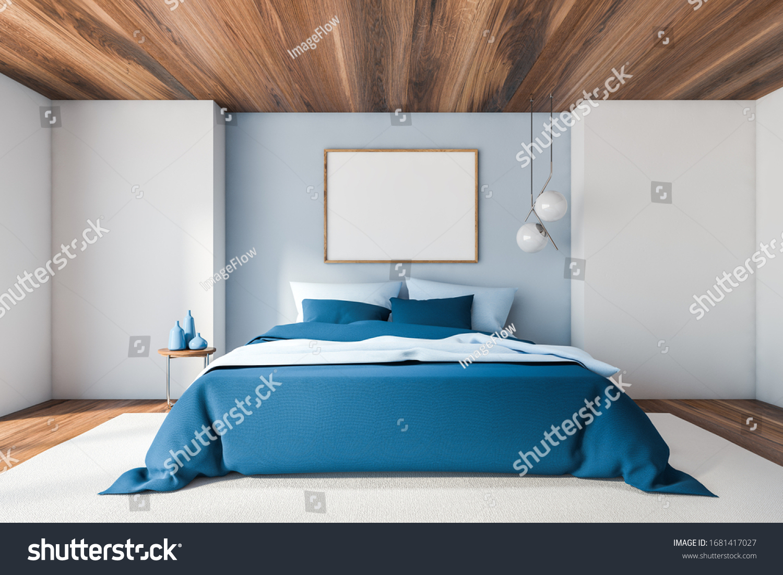 Interior Master Bedroom White Blue Walls Stock Illustration 1681417027