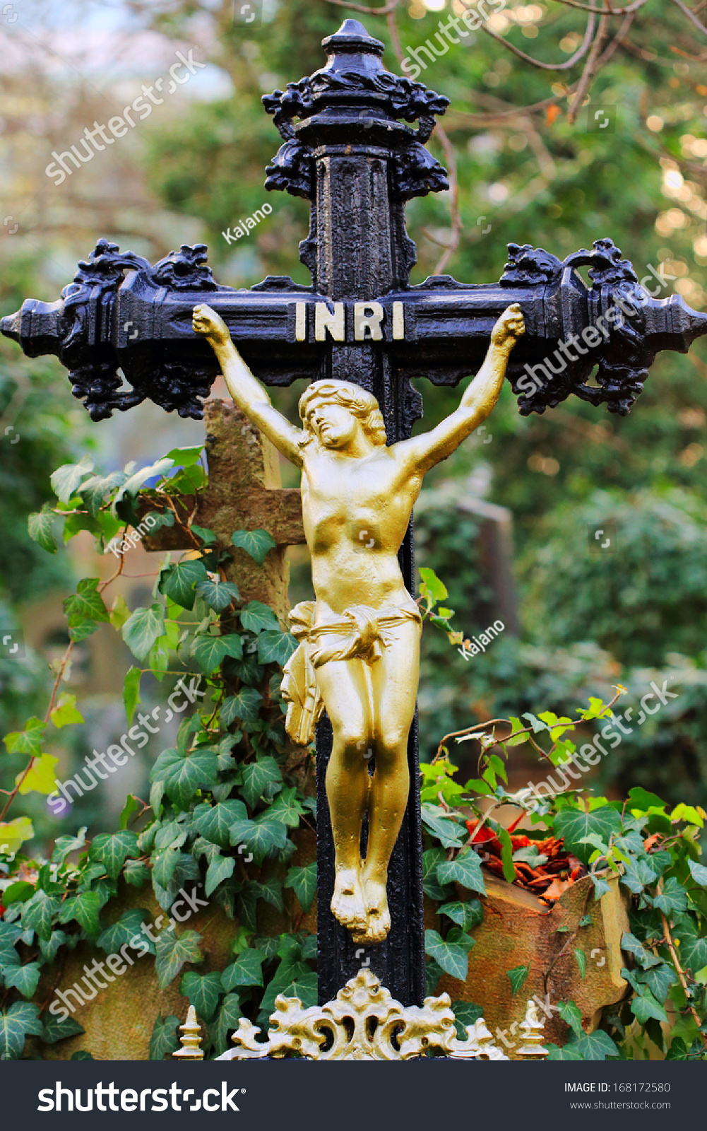 Historic Jesus on the old Prague Cemetery Czech Republic
