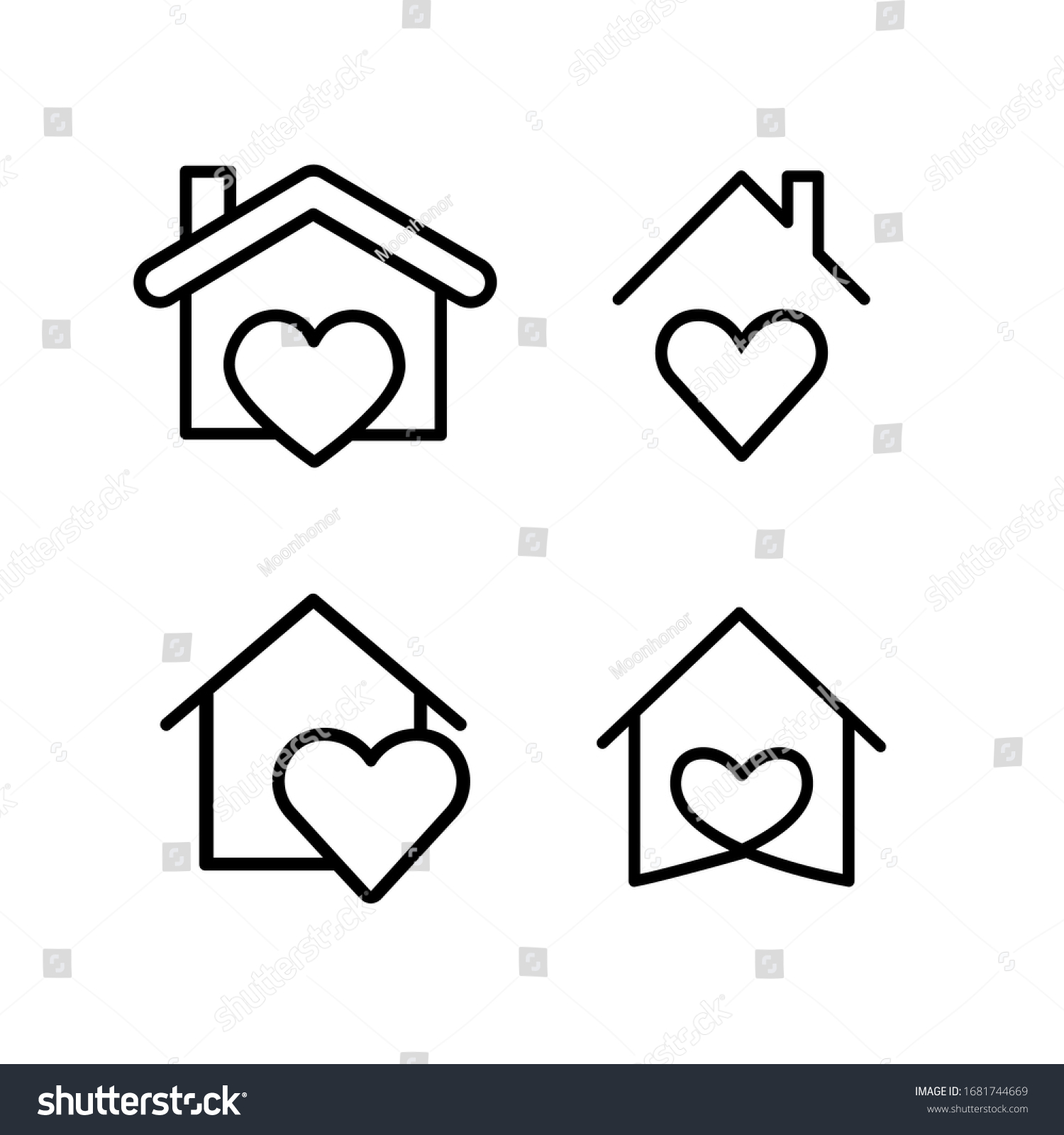 Heart with home shape designed as a logo or icon. this icons prepared for coronovirus (covid-19) Remarkable icons shows messages ''stay home'' or ''stay safe''  #1681744669
