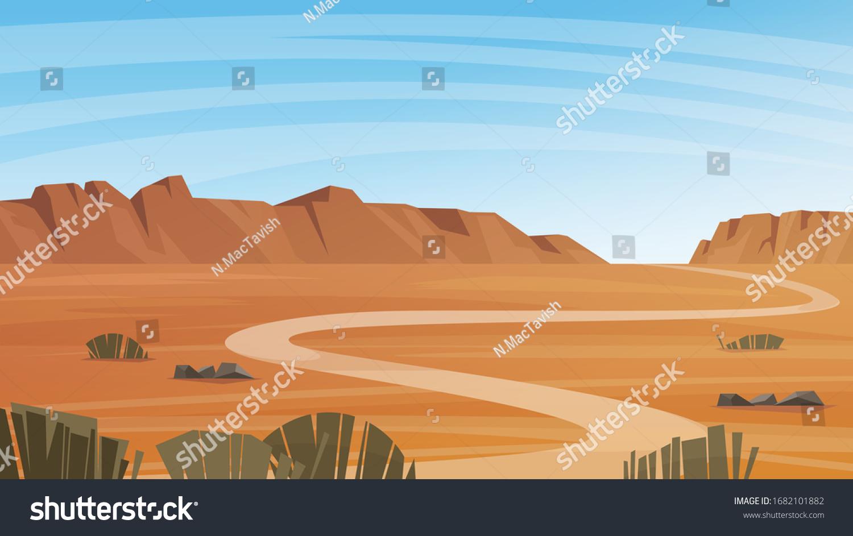 Grand Canyon desert landscape vector illustration.