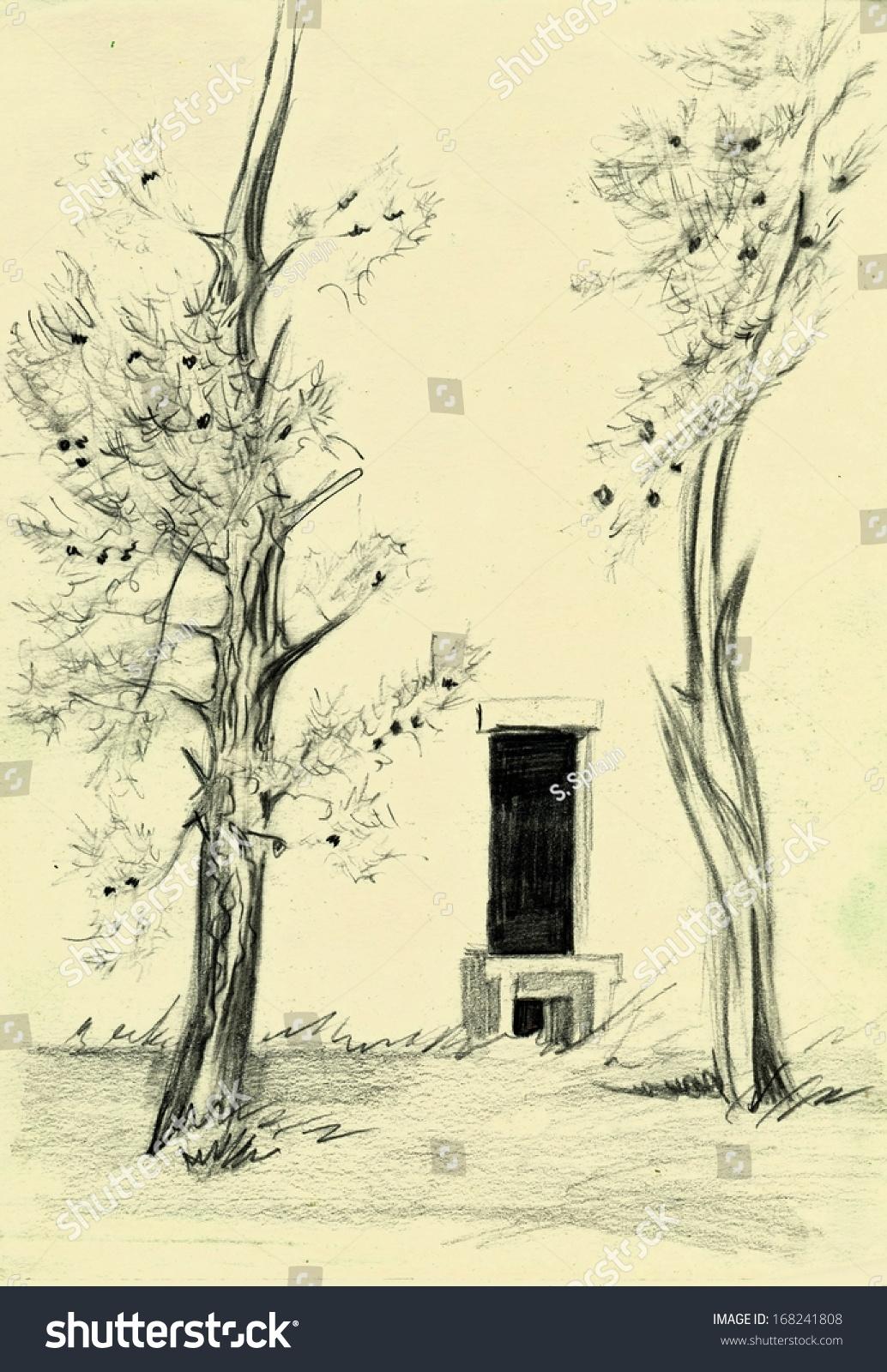 Vintage Sketchbook Page Trees Sketch Pencil Stock Illustration 168241808
