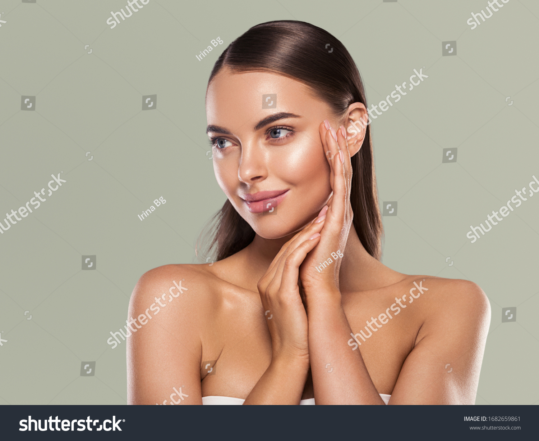 Beauty woman clean healthy skin natural make up spa concept long smooth hair #1682659861
