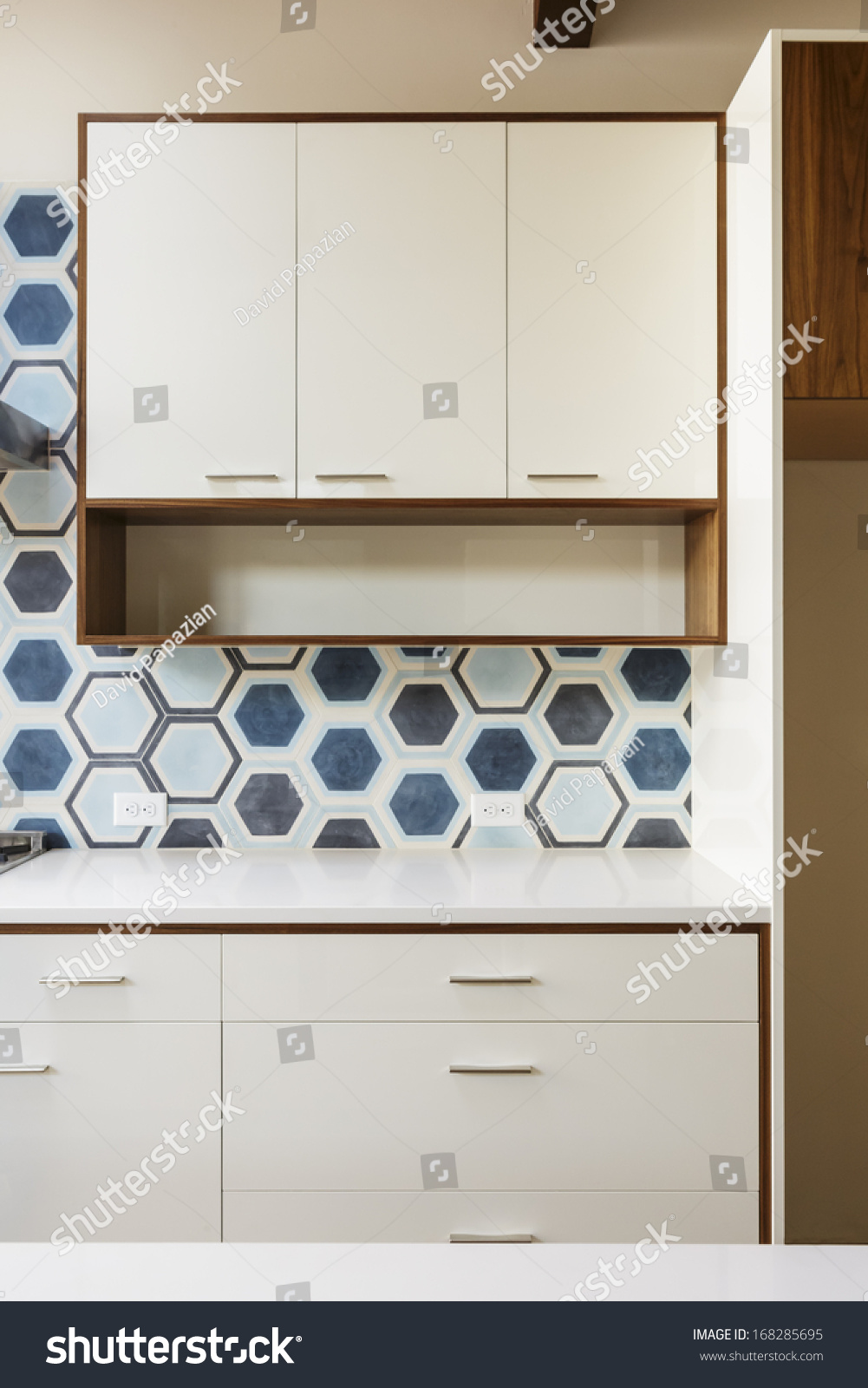 White Kitchen Cabinets Wood Trim Hexagonal Stock Photo (Download Now ...