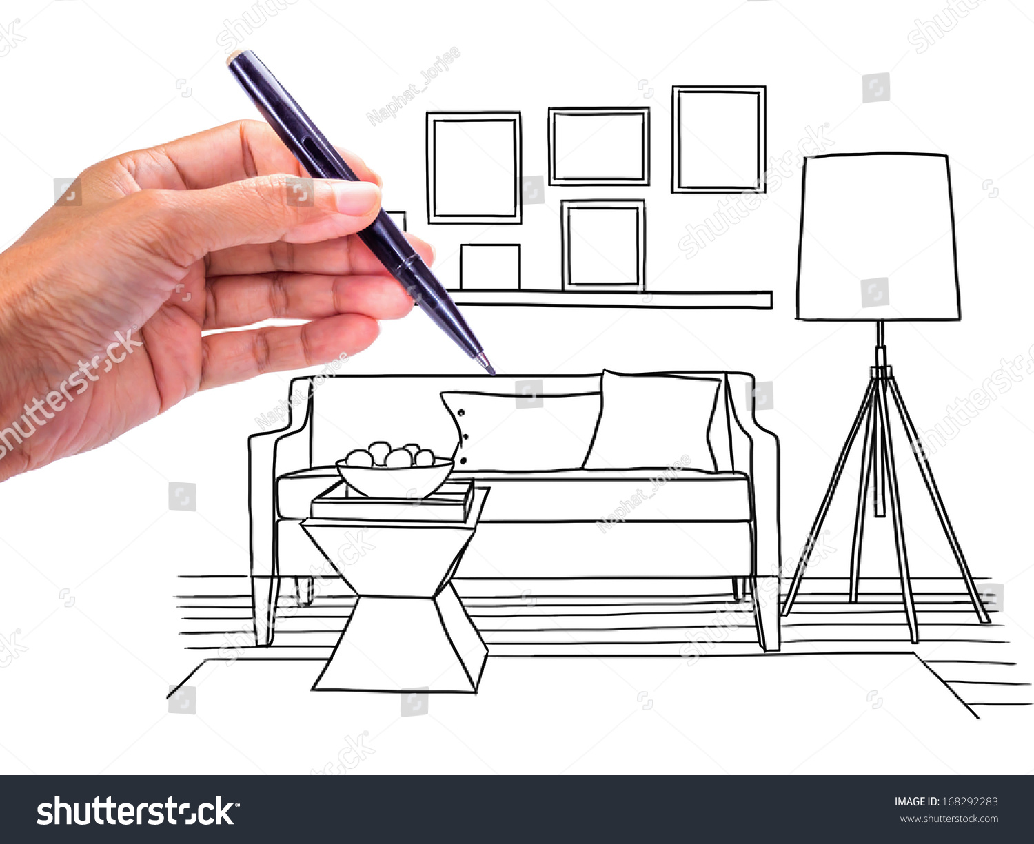 hand drawing interior design of modern classic living room