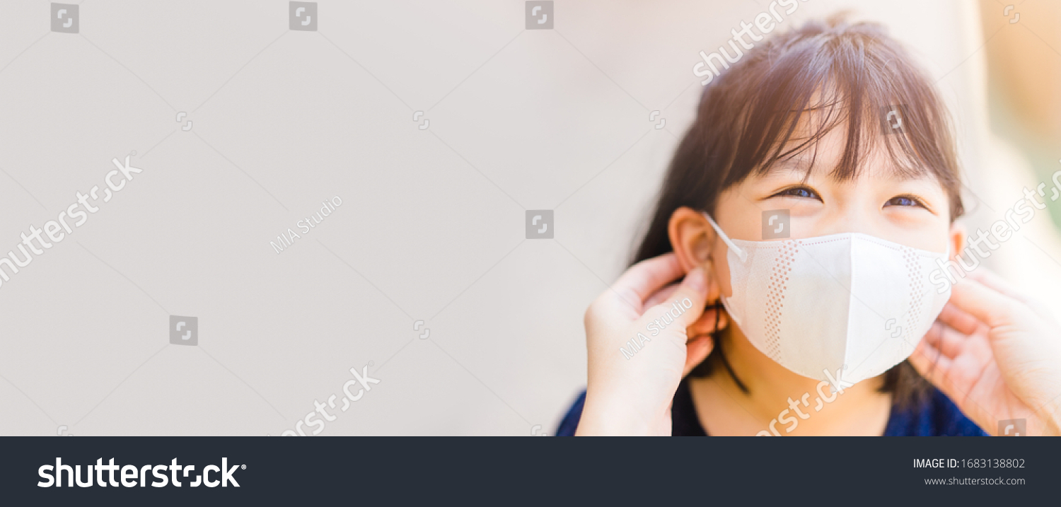 Coronavirus Covid-19 and Air pollution concept.Asian girl and mother wearing mask.Back to school.New normal post covid-19.Reopen school and infected like kawasaki disease.Banner background.School kid. #1683138802