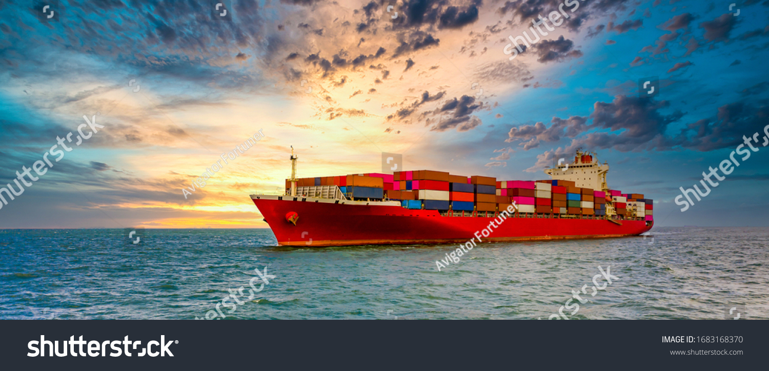 Container cargo ship, Freight shipping maritime vessel., Global business import export commerce trade logistic and transportation worldwide by container cargo ship boat in the open sea #1683168370
