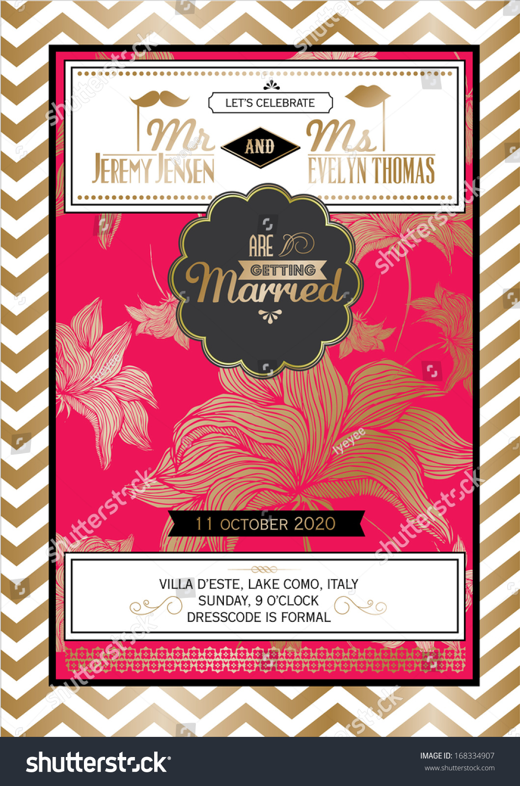 Modern Vintage Floral Wedding Invitation Card Stock Vector (Royalty ...