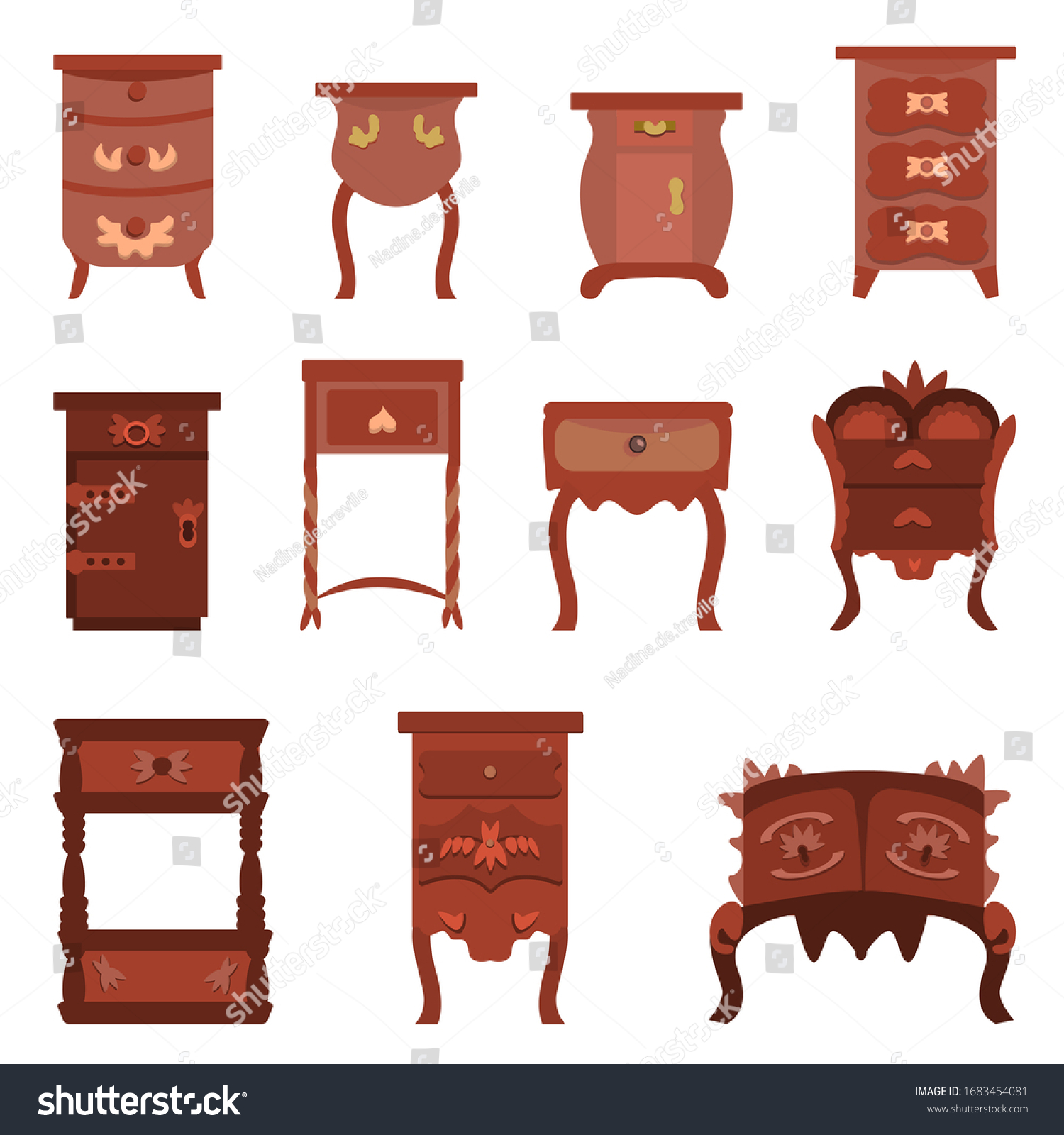 Set Cute Vintage Nightstands Dressers Bureaus Stock Vector Royalty Free 1683454081