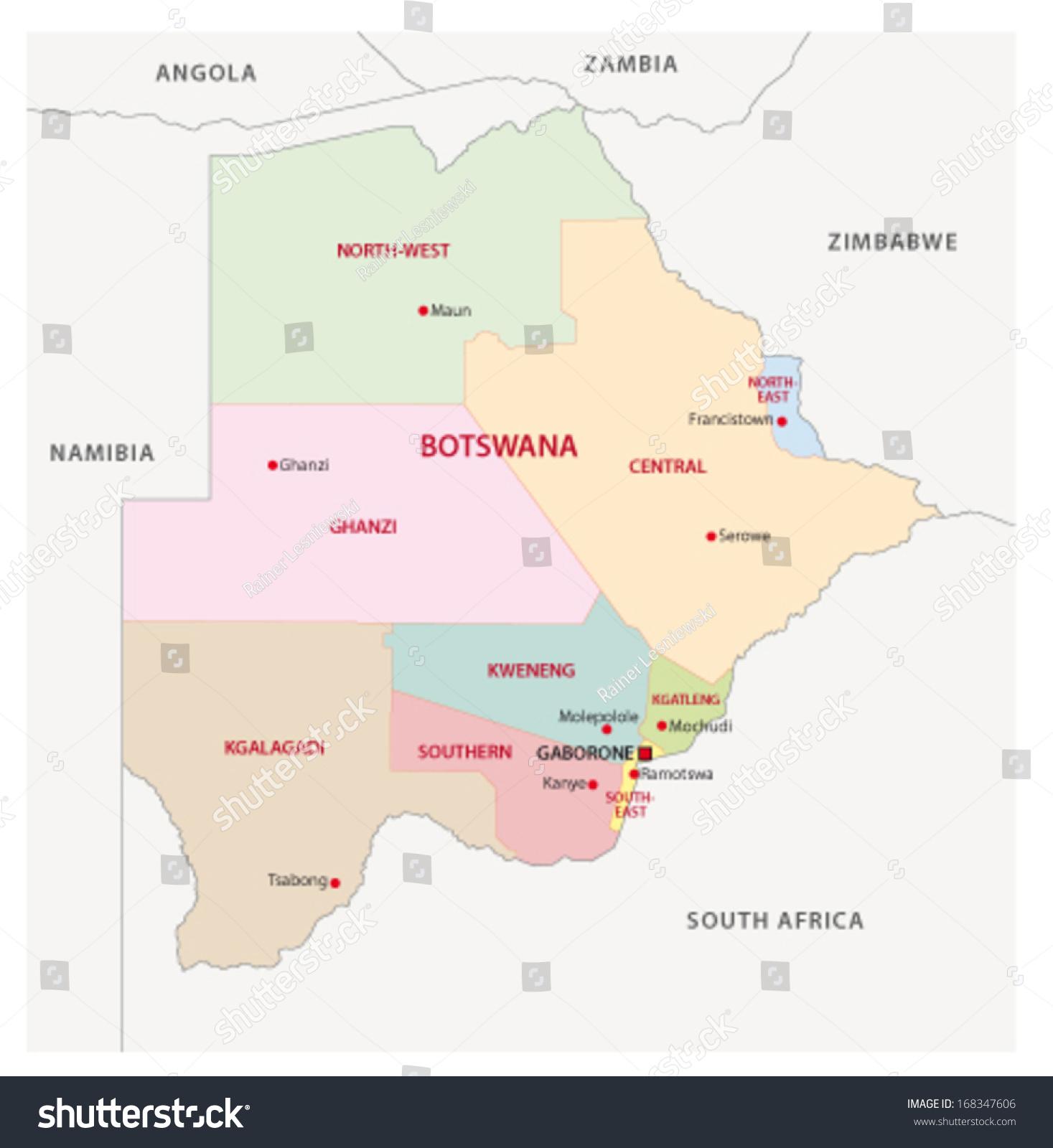 Botswana Administrative Map Stock Vector 168347606 Shutterstock