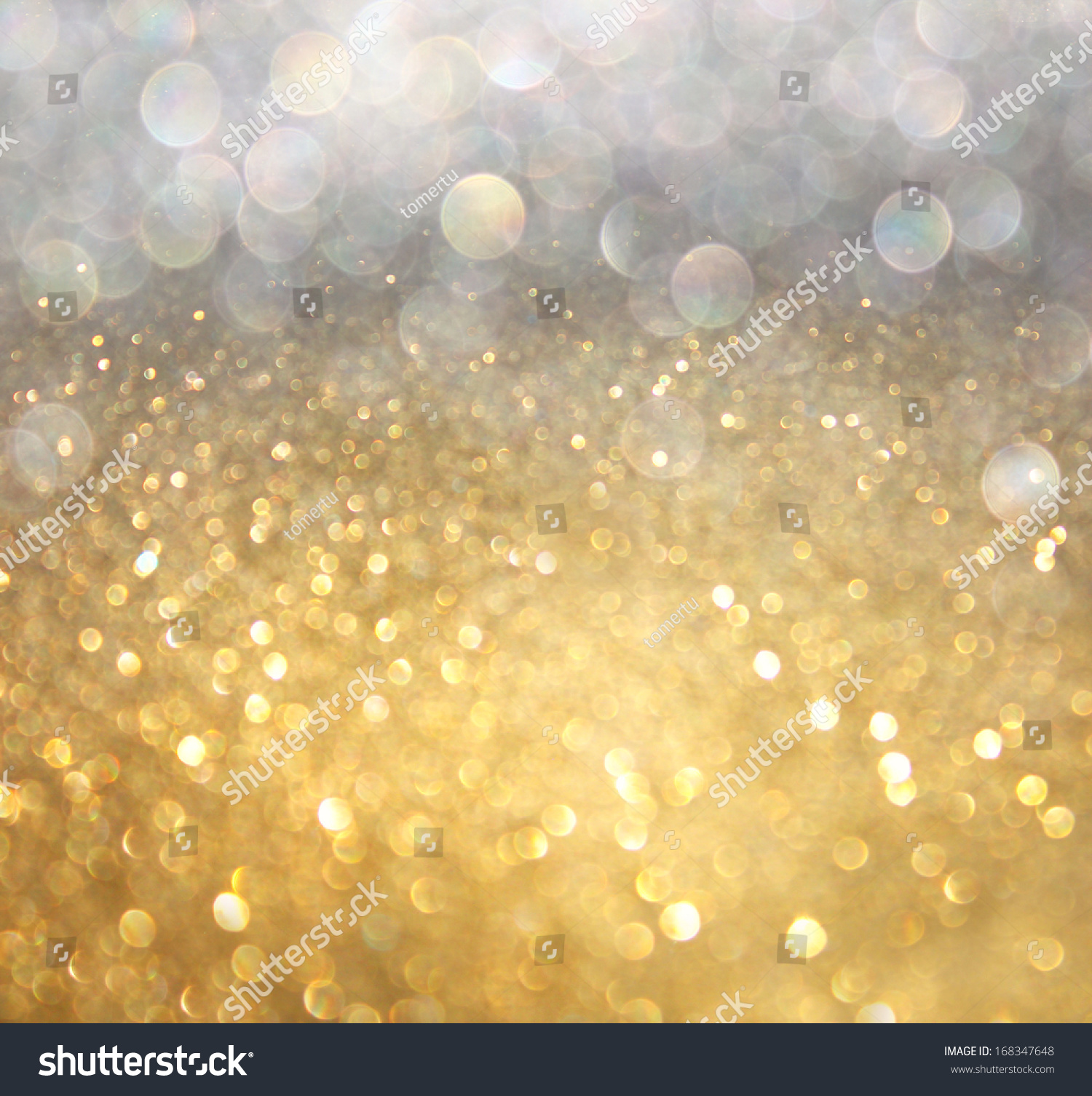 Silver and golden background of defocused abstract lights bokeh - White Silver Gold Abstract Bokeh Lights Stock Photo