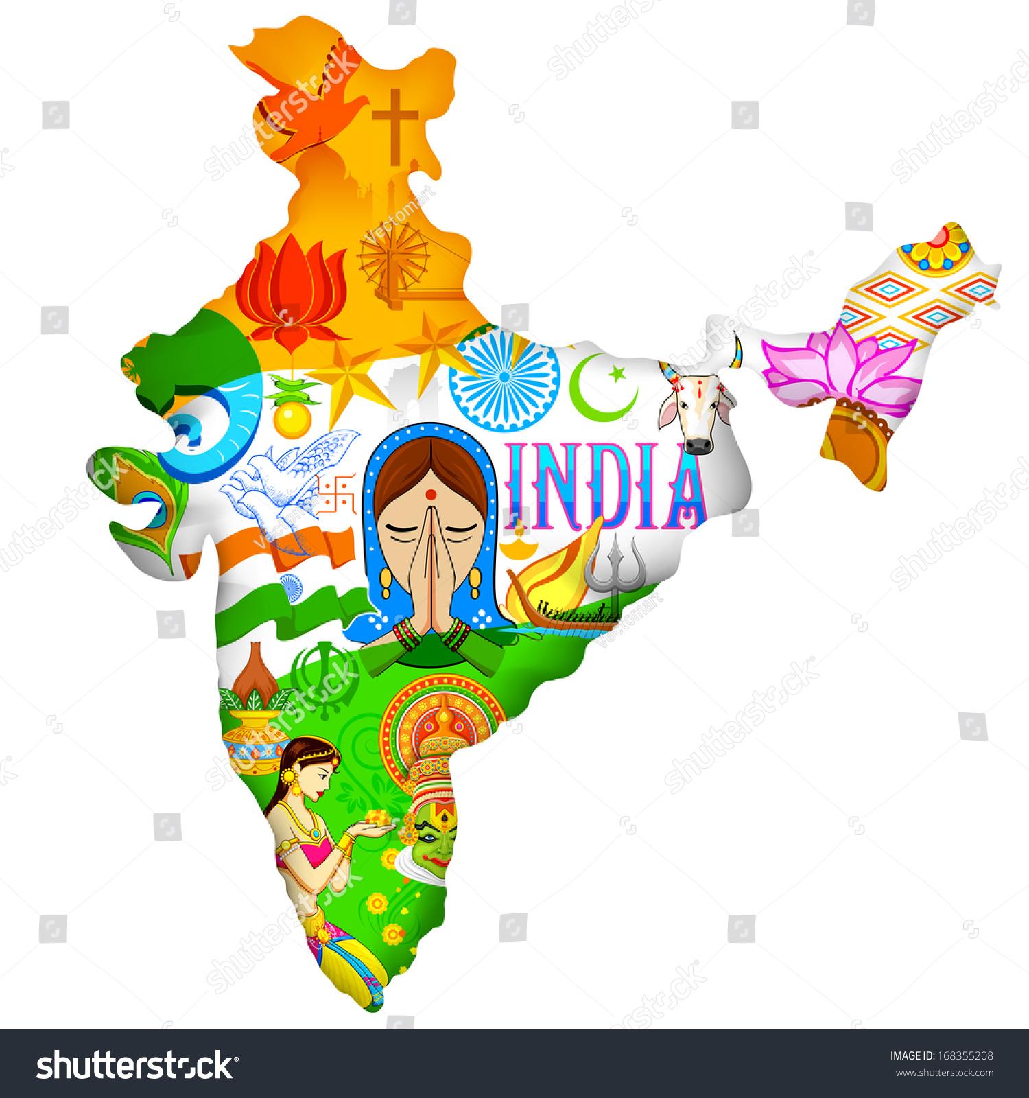 Illustration Indian Map Showing Culture India Stock Vector