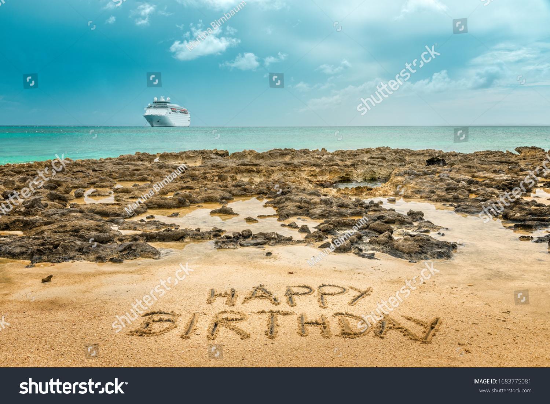 Hand Written Happy Birthday On Sandy Stock Photo Edit Now 1683775081