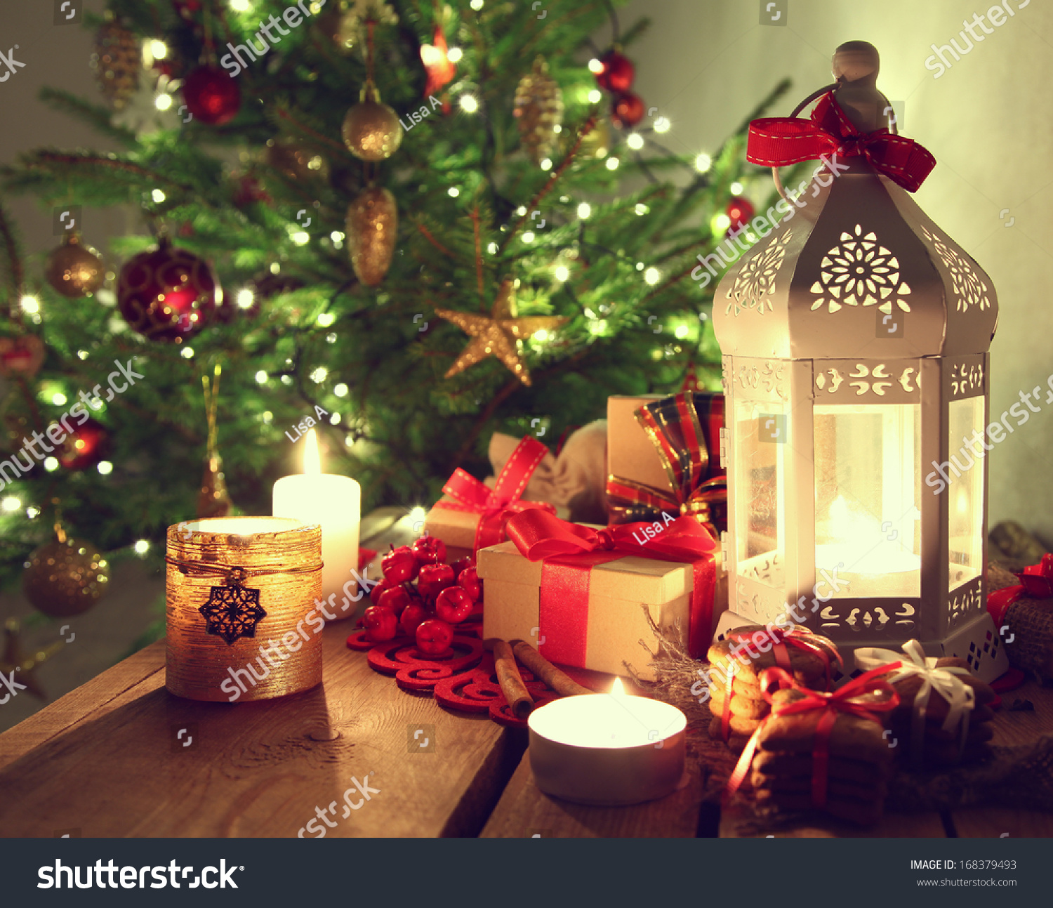 Shining Candles Christmas Decorations Stock