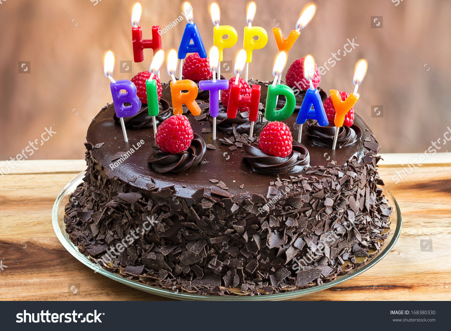 Happy Birthday Candles On Chocolate Cake Stock Photo Edit Now