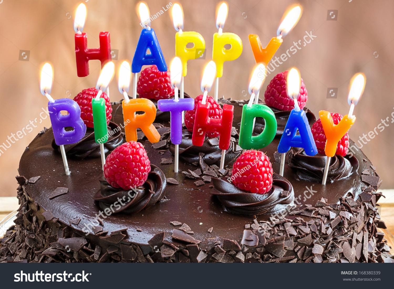 Terrific Happy Birthday Candles On Chocolate Cake Stock Photo Edit Now Personalised Birthday Cards Veneteletsinfo