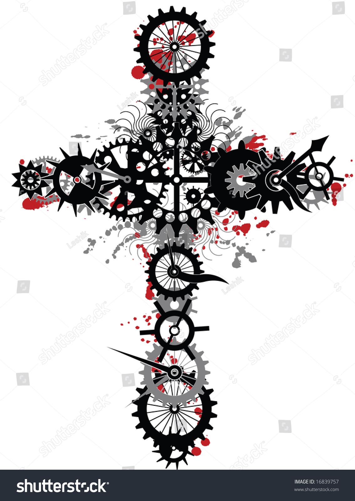 Christian modern cross spiritual concept dark wheels against white background