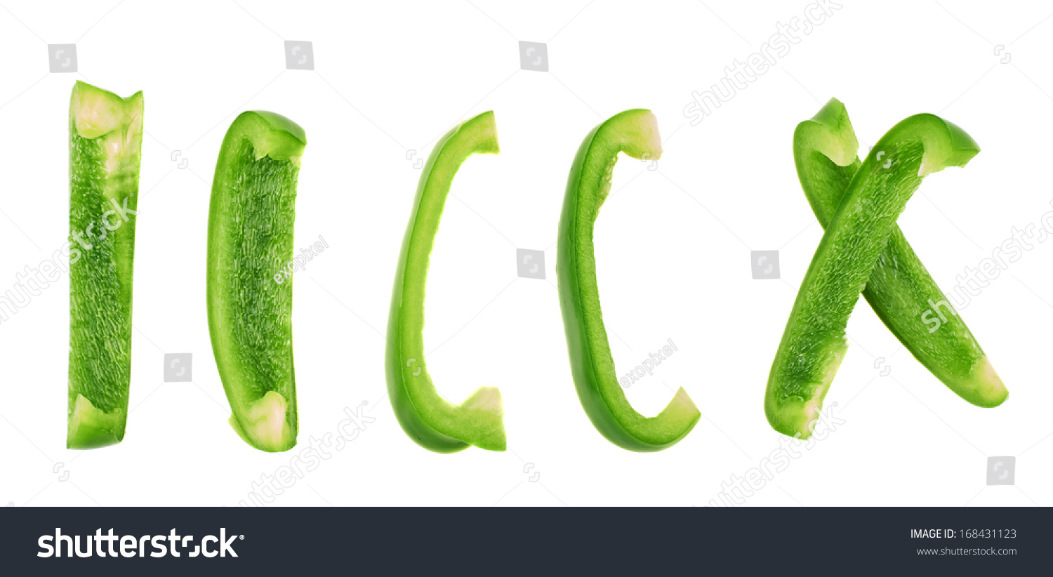 Set Sliced Green Bell Pepper Section Stock Photo 168431123 ...