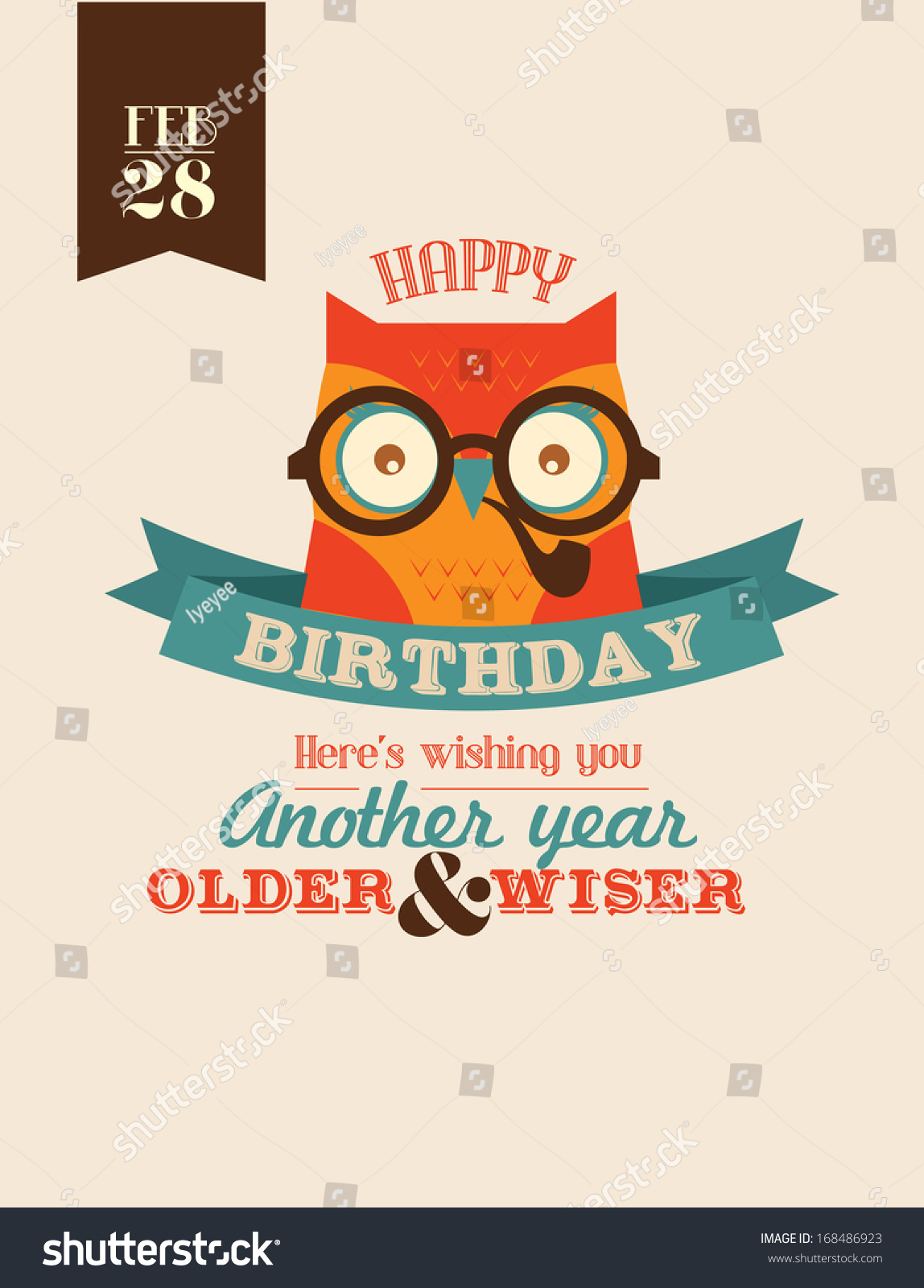 Wise Owl Birthday Greeting Template Vectorillustration Stock Vector