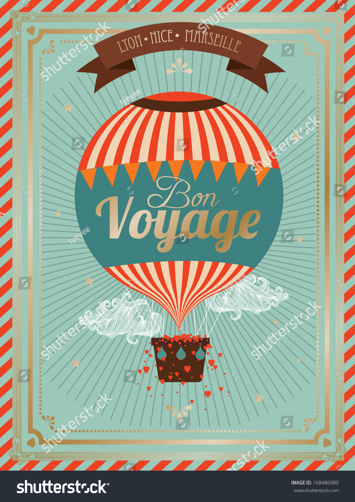 Vintage Hot Air Balloon Bon Voyage Stock Vector 168486980 ...