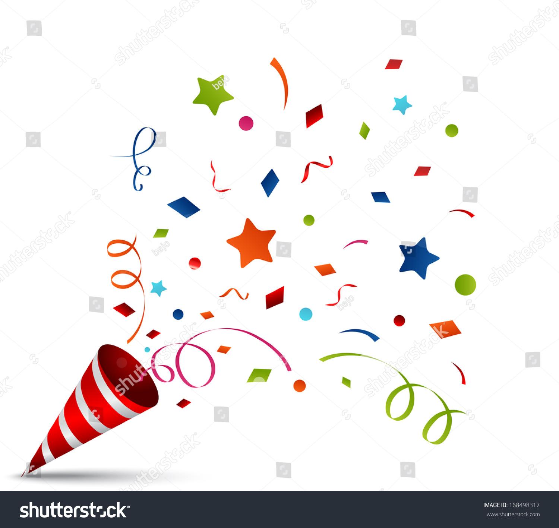 Exploding Party Popper Stock Vector 168498317 Shutterstock
