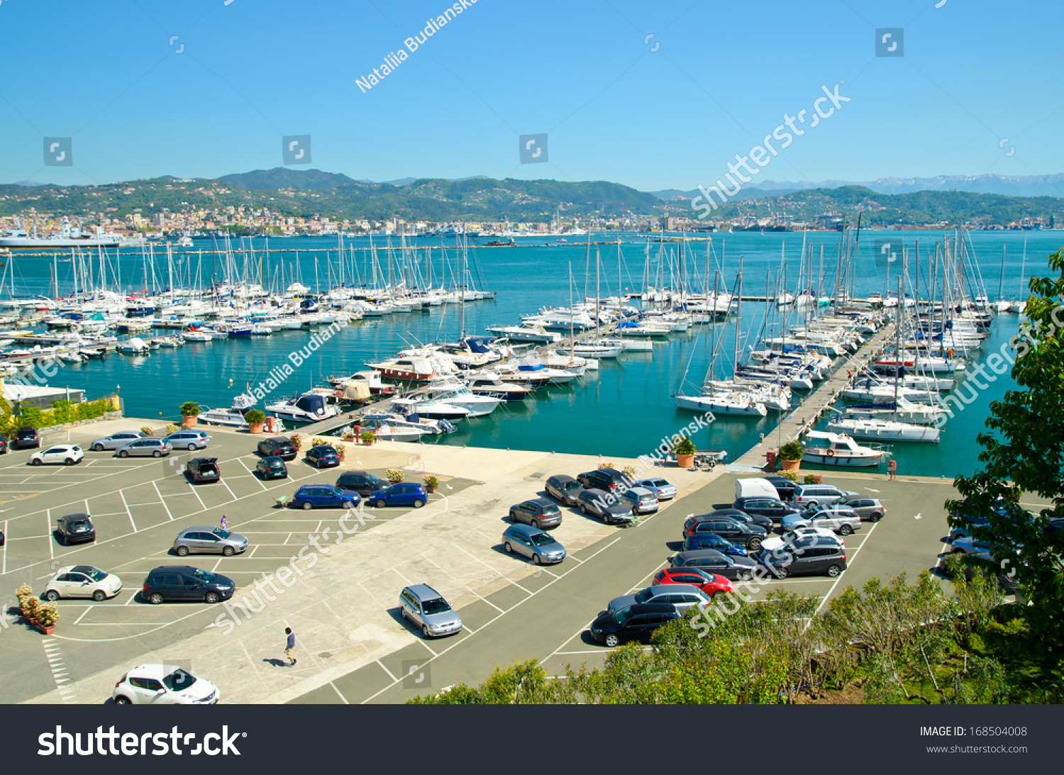 Italy, La Spezia   Port City. Seascape, Parking Cars