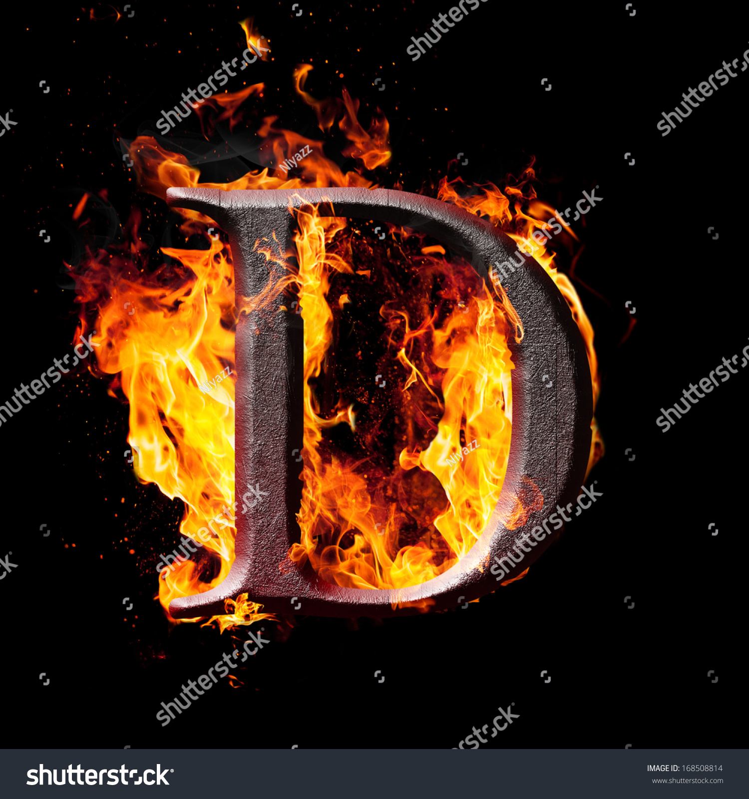 letters and symbols in fire letter d stock photo