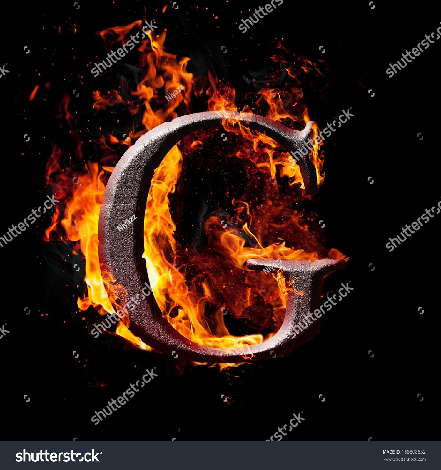 Letters Symbols Fire Letter G Stock Illustration 168508832