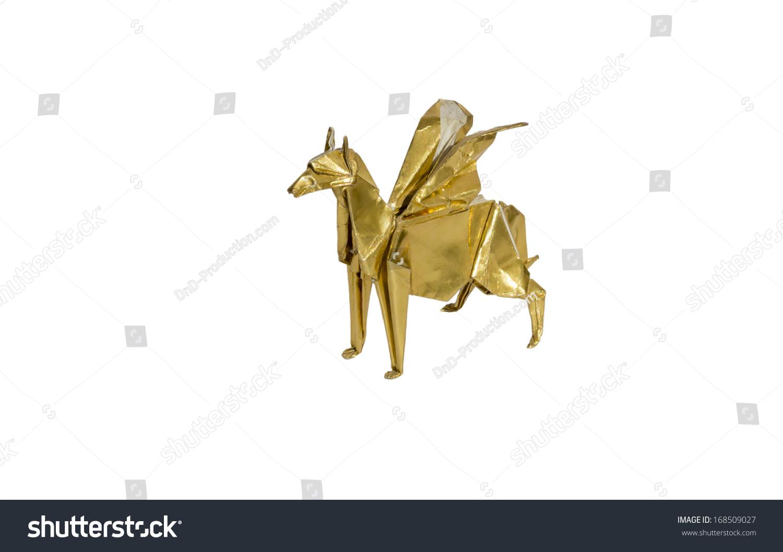 Gold Origami Pegasus Horse Isolated On White Ez Canvas