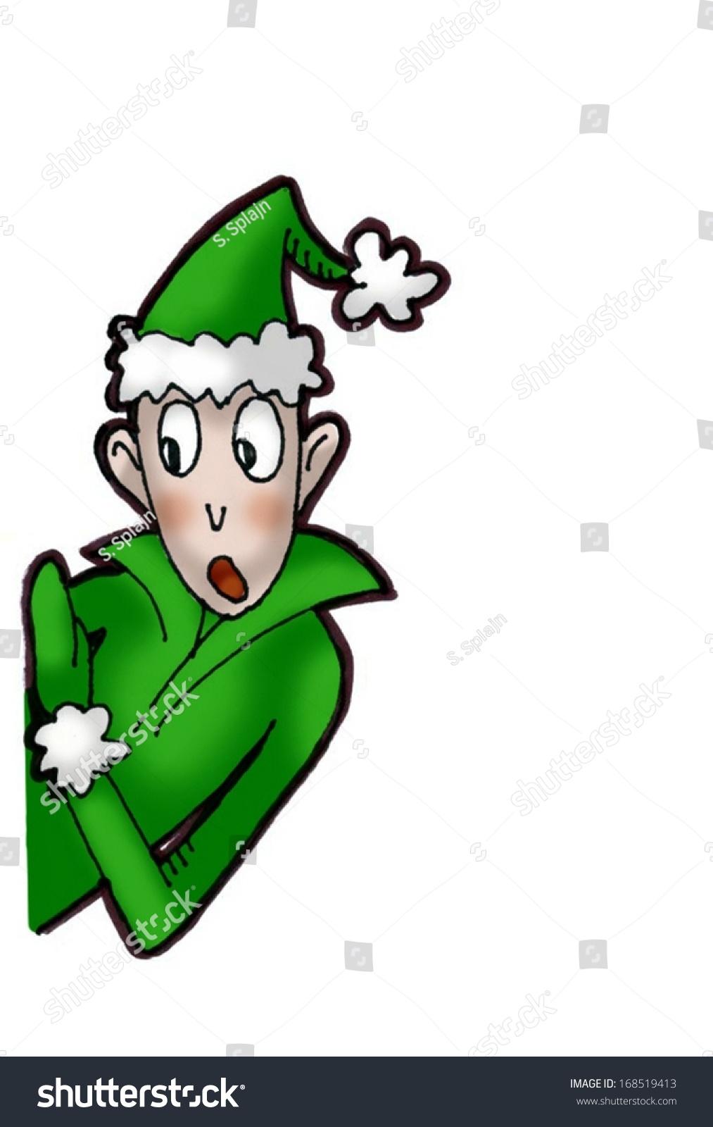 Cute christmas elf peeking side colored stock illustration