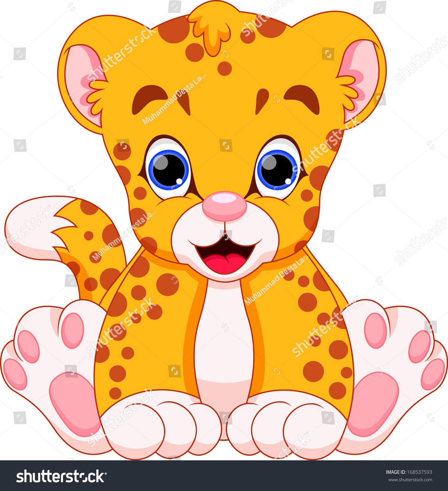 Cute Baby Cheetah Cartoon Stock Illustration 168537593
