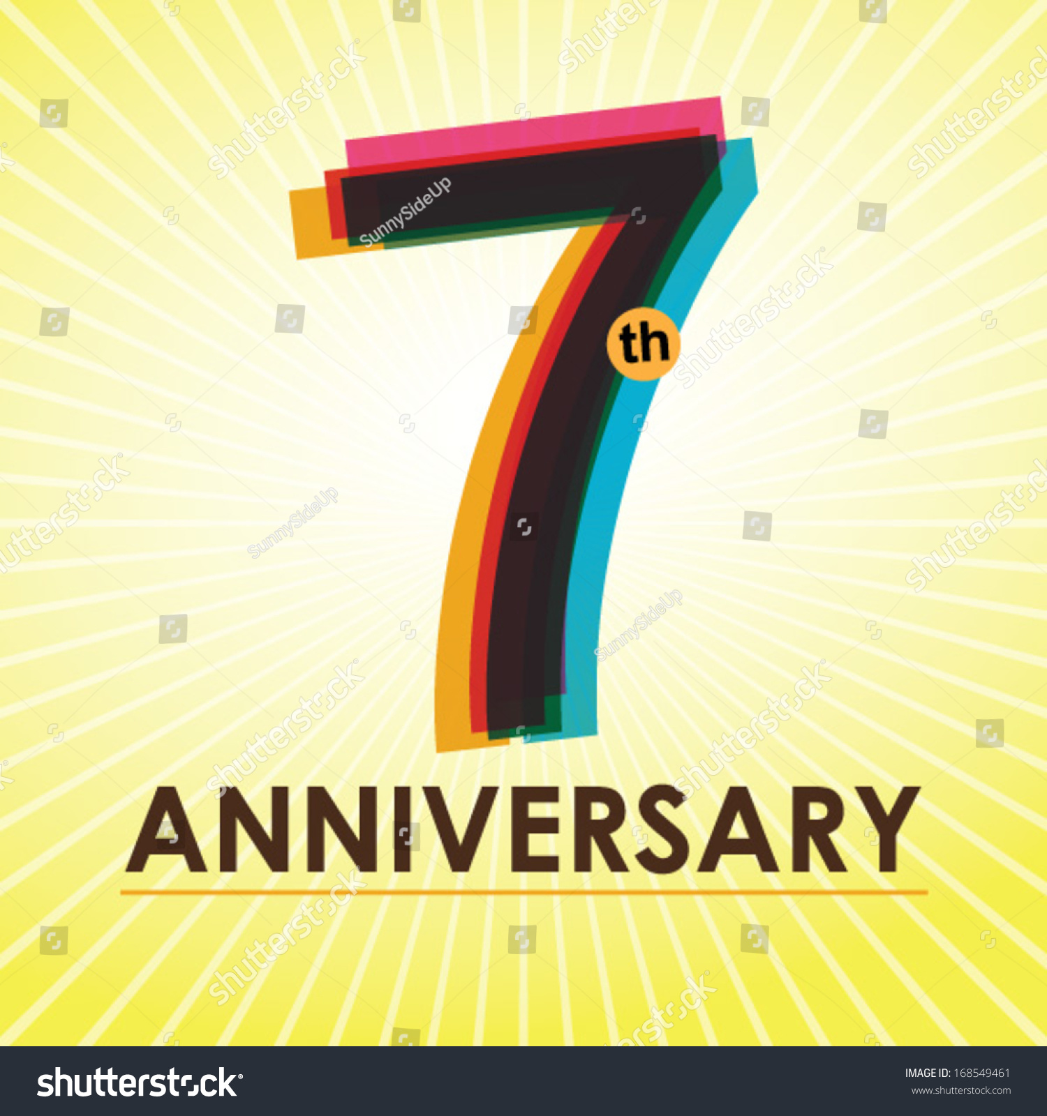 Poster backgrounds design - 7th Anniversary Poster Template Design In Retro Style Vector Background