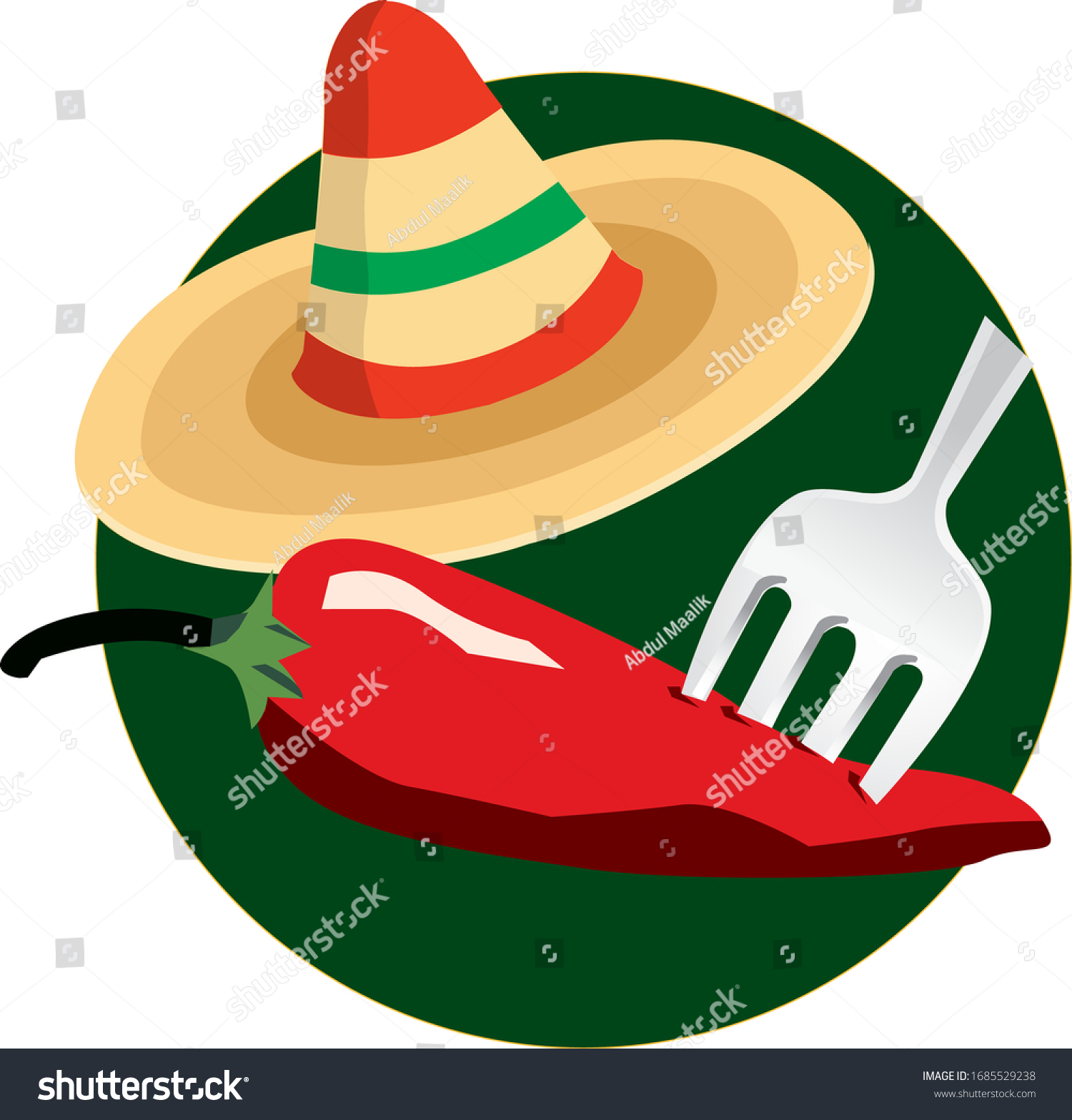 Mexican Food Recipe Taco Chili Hat Stock Vector Royalty Free 1685529238