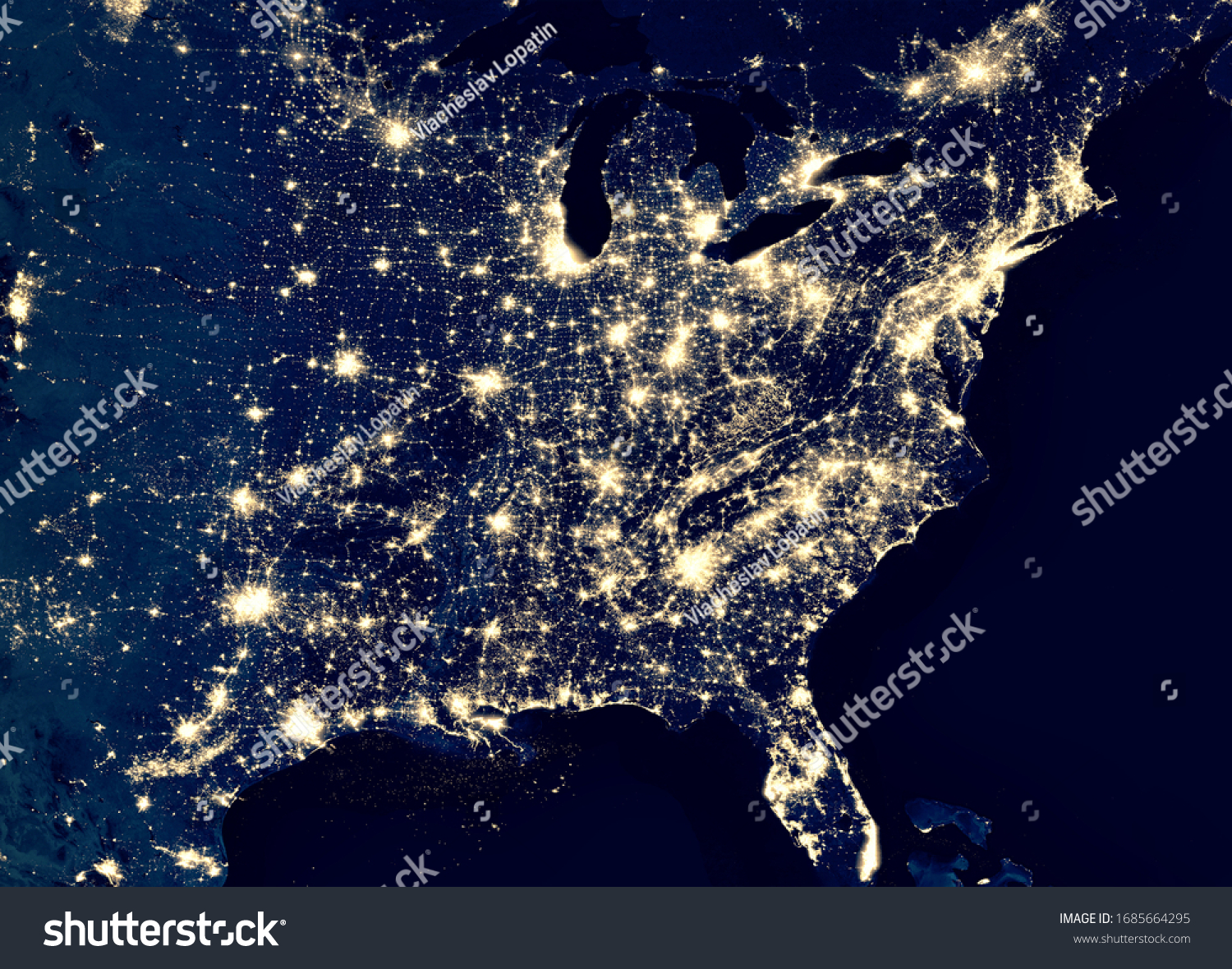 Earth at night, view of city lights in East of United States from space. USA on world map on global satellite photo. US terrain on dark planet. Elements of this image furnished by NASA. #1685664295