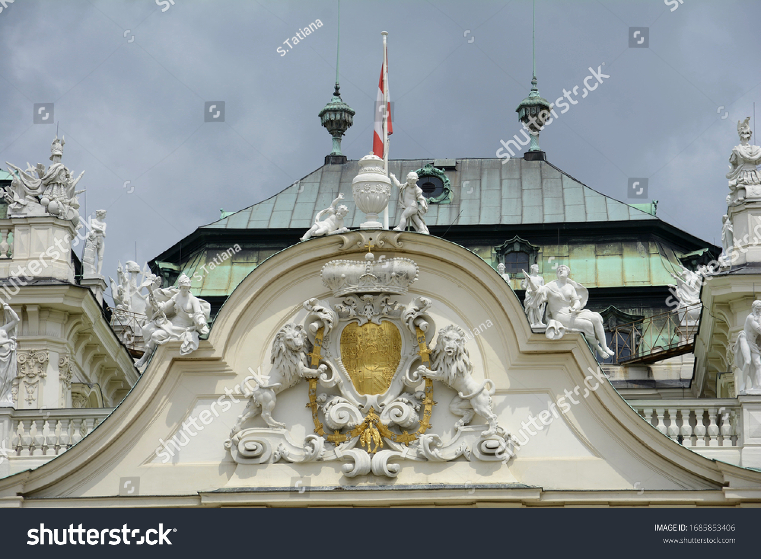 Representative residence of Prince Eugene of Savoy. Baroque palace complex. Alpine garden. Trees, hedges, sculptures, fountains and cascad