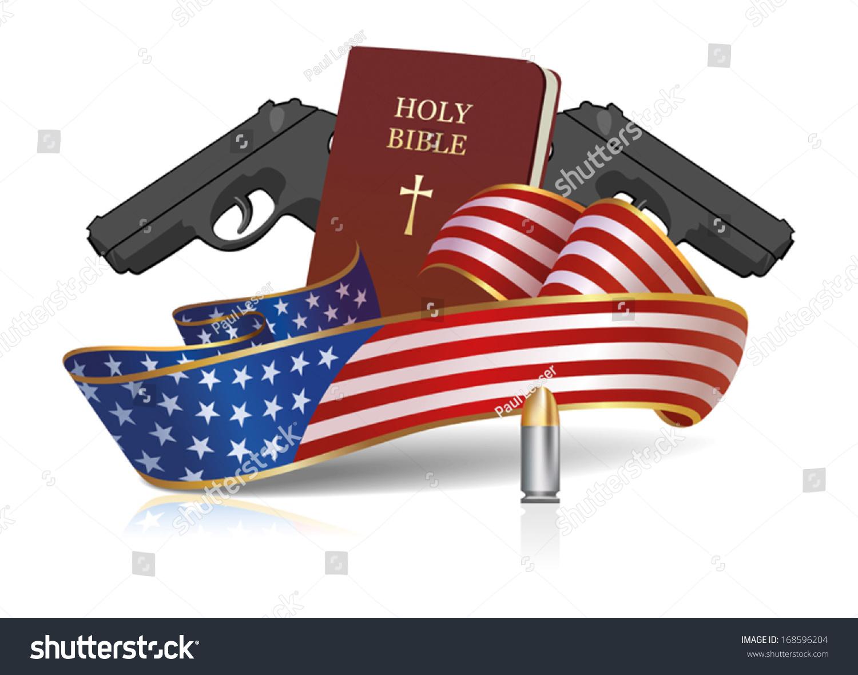 Holy Bible Guns American Flag Ribbon Stock Vector Royalty Free
