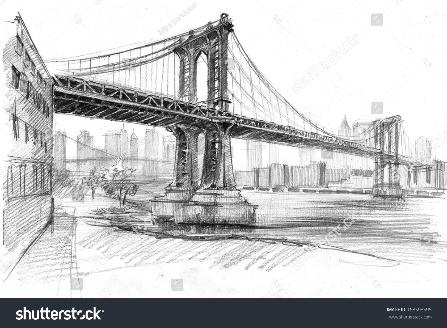 Pencil drawing of a landscape with set of skyscrapers and manhattan bridge in new york