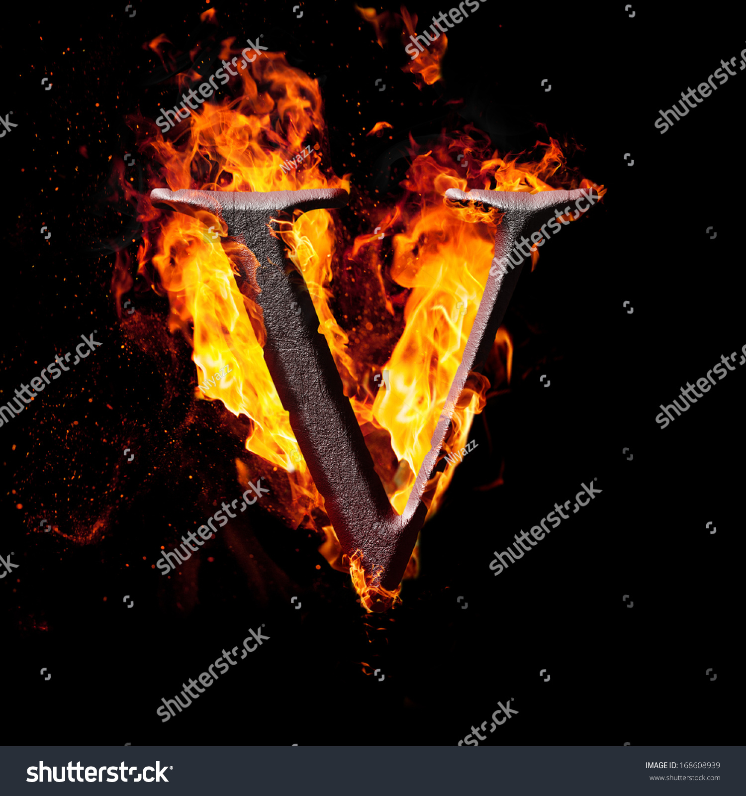 Letters And Symbols In Fire - Letter V. Stock Photo ...
