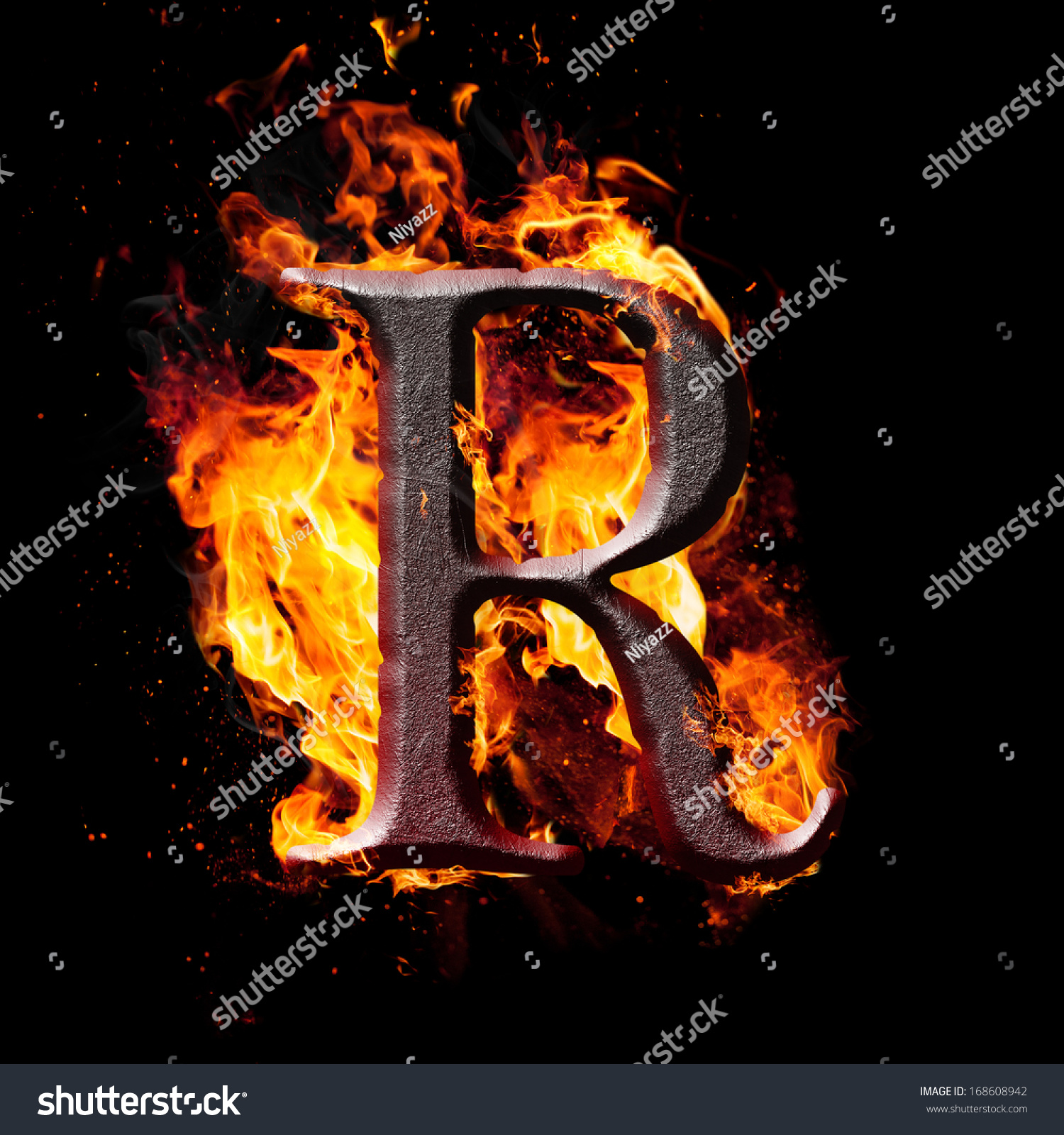 letters and symbols in fire letter r