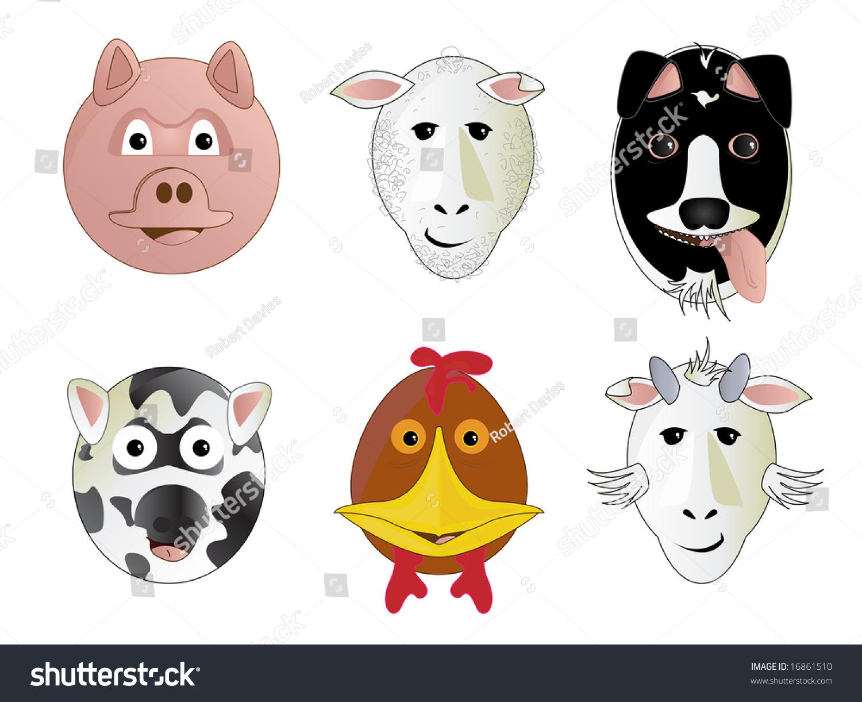 Various Cartoon Comic Farm Animal Face Stock Vector ...