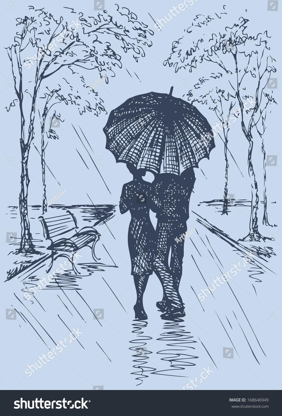 Vector romantic scene couple with umbrella walking along the avenue in the rain