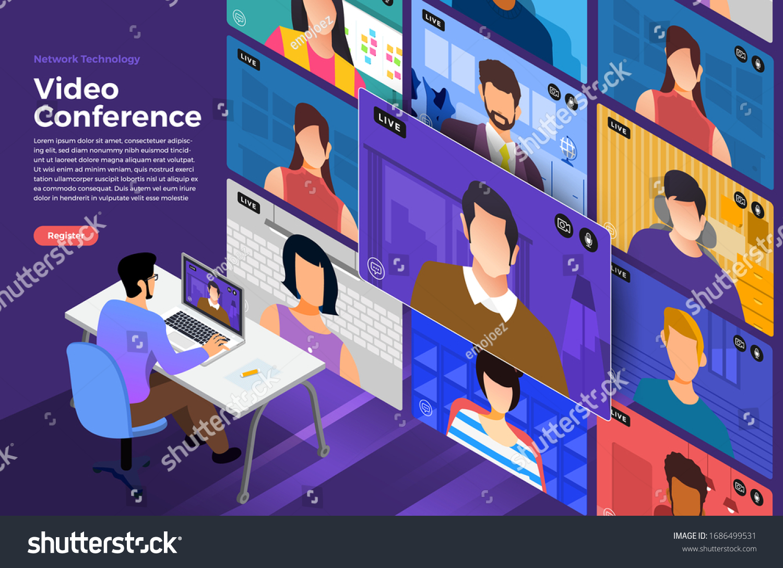 Illustrations flat design concept video conference. online meeting work form home. Vector illustrate. #1686499531