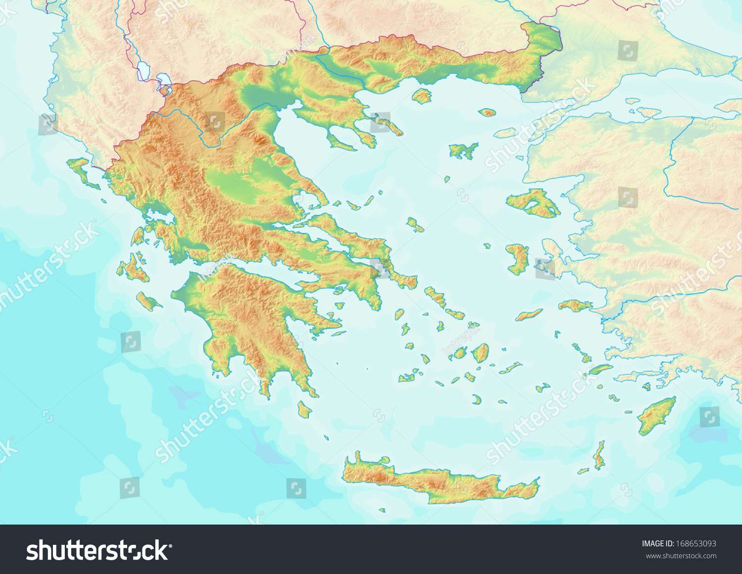 Map Showing Topography Greece Without Labels Stock Photo Edit Now