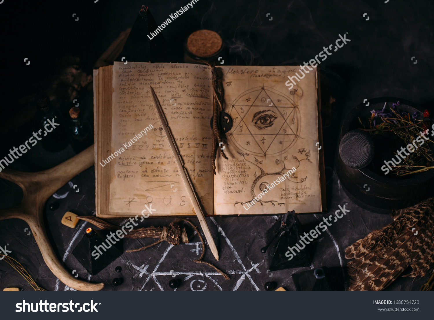 Open old book with magic spells, runes, black candles on witch table. Occult, esoteric, divination and wicca concept. Halloween vintage background #1686754723