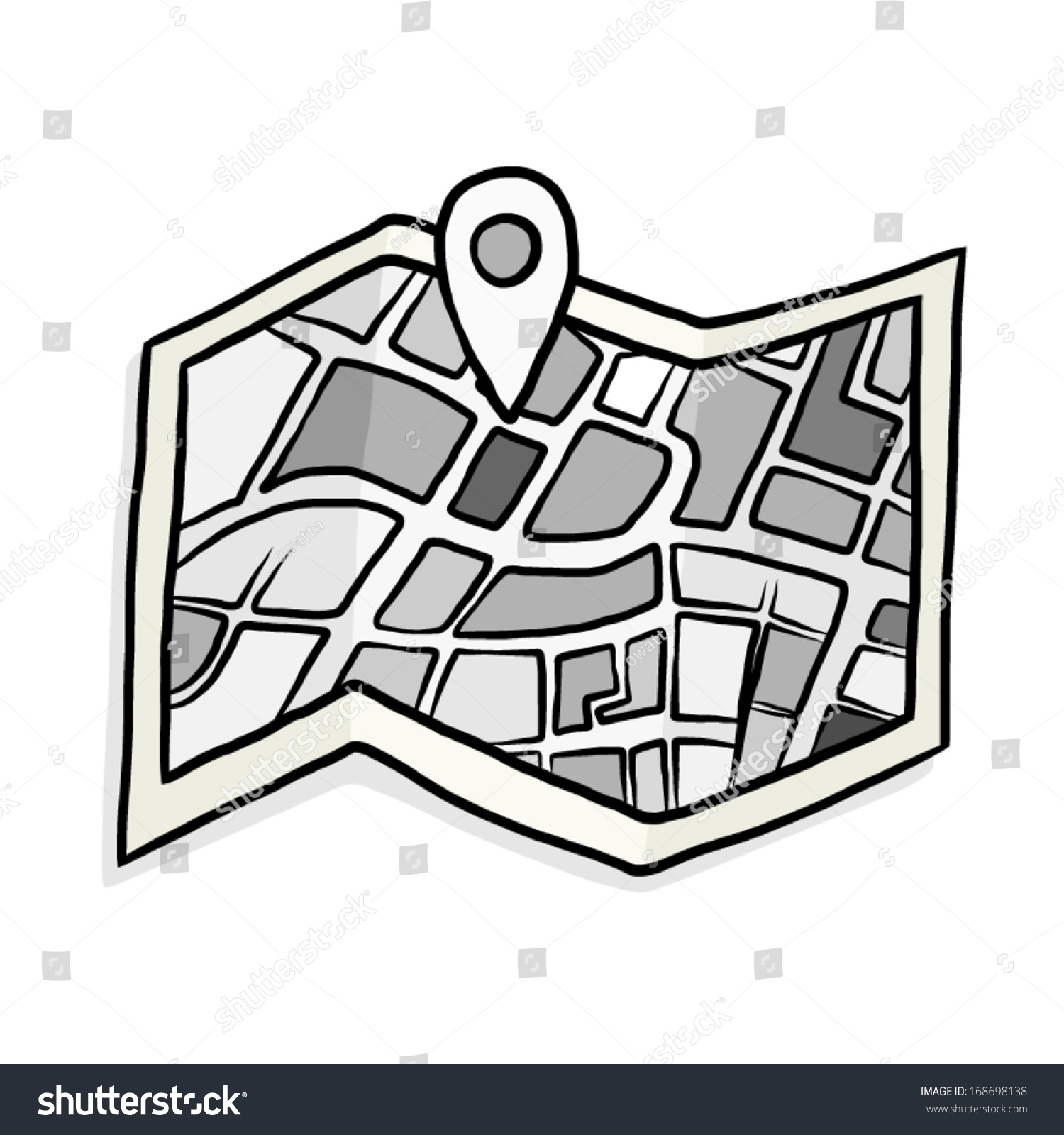 Gray Scale Map Check Symbol Cartoon Stock Vector Royalty Free