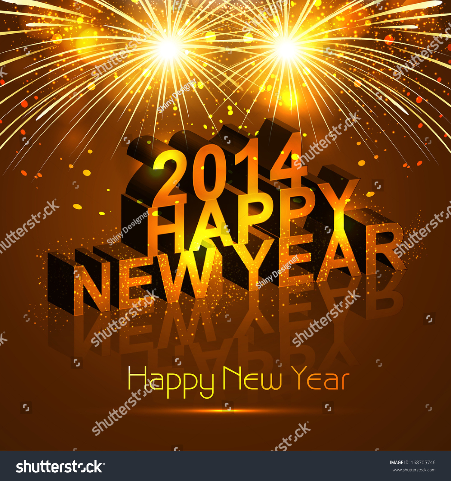 New Year 2014 Reflection Celebration Colorful Stock Vector (Royalty ...