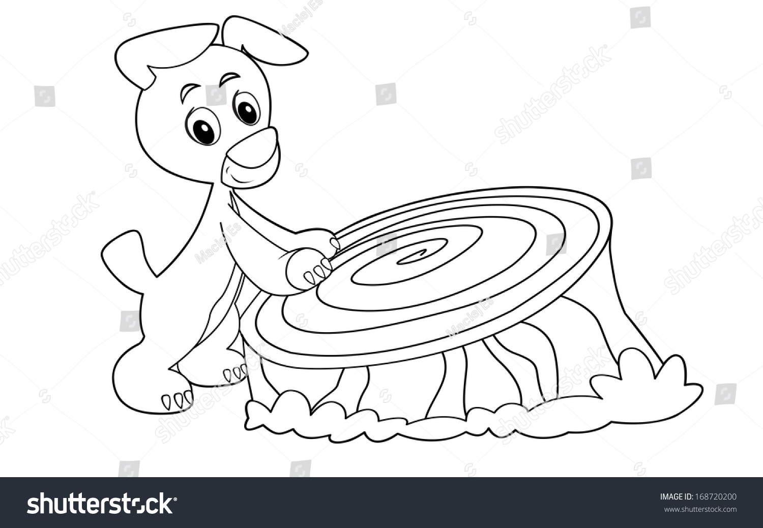 Coloring page - doggy having fun - illustration for the children ...