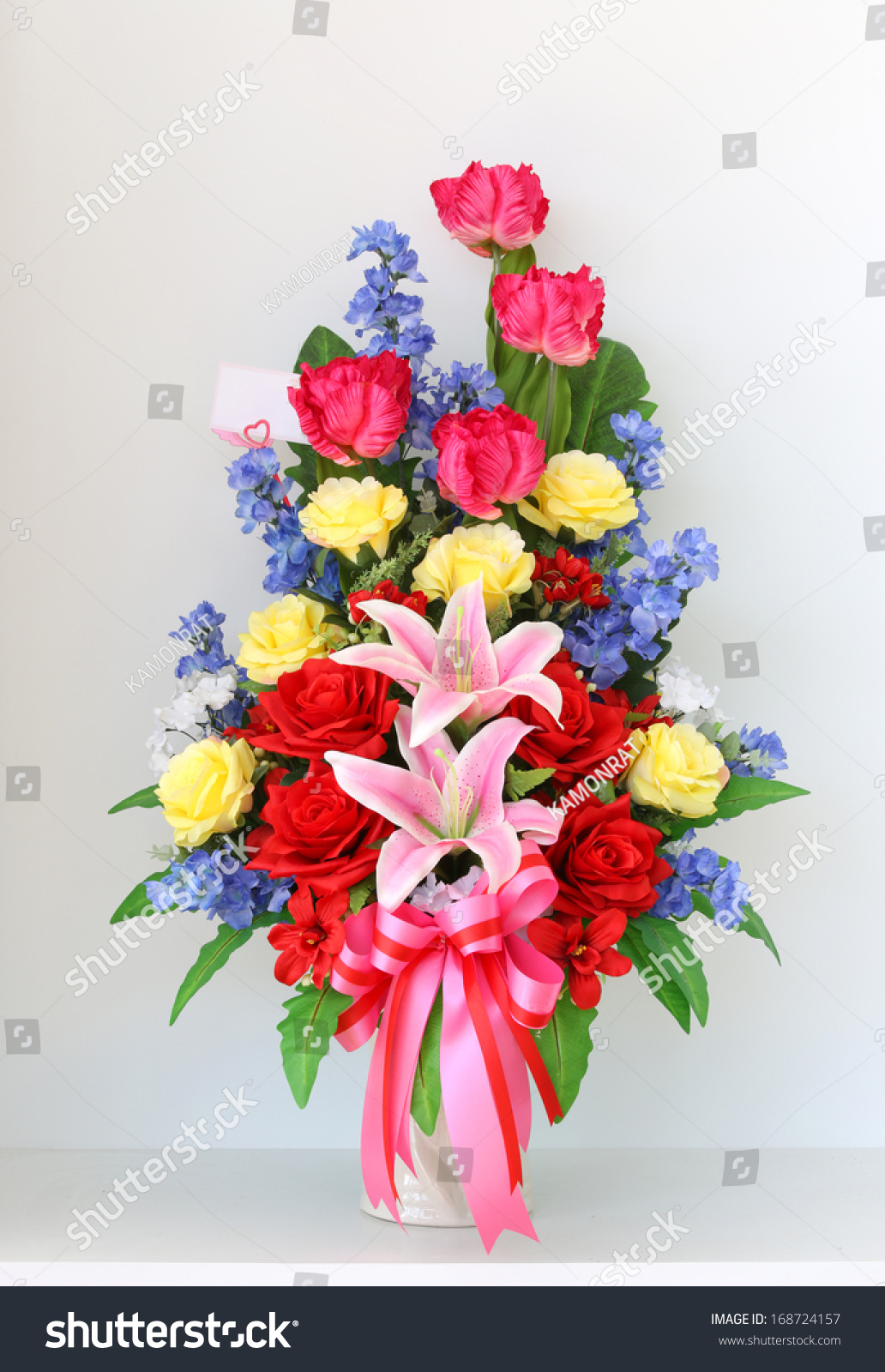 Colorful Bunch Flowers Vase Stock Photo & Image (Royalty-Free ...